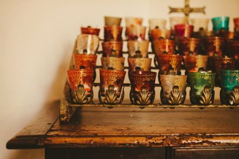 Jewel Covered Votives in the Chapel at Villa San Juan Capistrano | Vitaly M Photography | See More! https://heyweddinglady.com/historic-villa-wedding-in-southern-california/