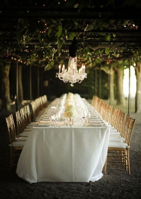 Winery Arbor Wedding Reception hung with Crystal Chandeliers | Alisha + Brook Photographers | See More! https://heyweddinglady.com/secrets-of-event-lighting-theres-no-such-thing-as-too-many-chandeliers/