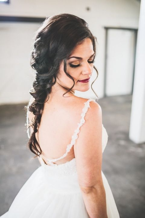 Low Back Wedding Dress with Lace Straps | Jacquelynn Brynn Photography | See More! https://heyweddinglady.com/classic-modern-wedding-day-style-from-jacquelynn-brynn-photography/