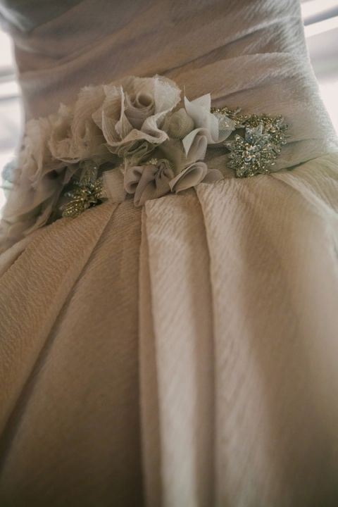 Cloud Gray Chiffon Vera Wang Wedding Dress | PhotoHouse Films | See More! http://heyweddinglady.com/ethereal-texas-garden-wedding-in-gray-pink-and-gold/