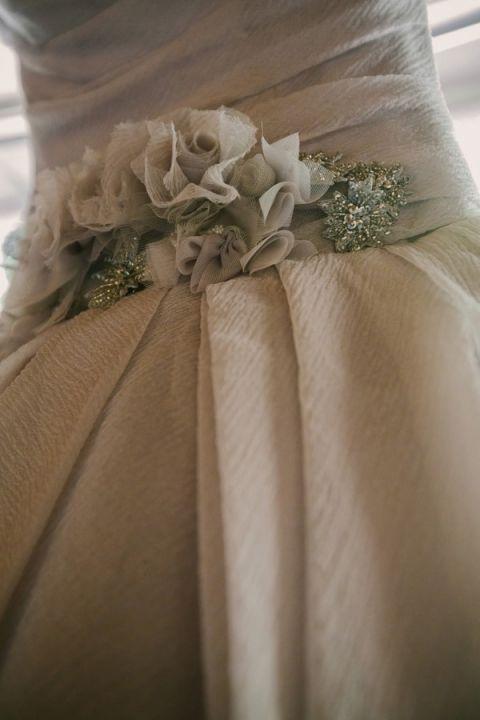 Cloud Gray Chiffon Vera Wang Wedding Dress | PhotoHouse Films | See More! https://heyweddinglady.com/ethereal-texas-garden-wedding-in-gray-pink-and-gold/