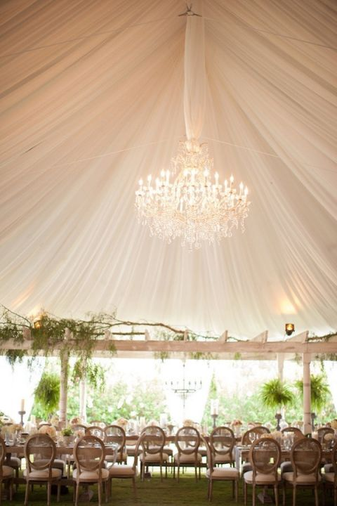 Marvelous Glamorous Draped Canopy Wedding with a Crystal Chandelier Birds of a Feather Photography See