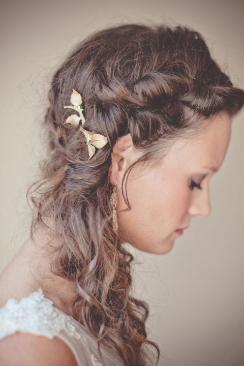 Rustic Bridal Braid with Gold Leaves   Dust Studios   See More! http://heyweddinglady.com/handmade-and-homespun-country-wedding-from-dust-studios/