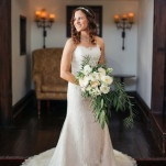 A Lush White and Green Cascade Bouquet with a Classic Sweetheart Wedding Dress | Vitaly M Photography | See More! http://heyweddinglady.com/historic-villa-wedding-in-southern-california/