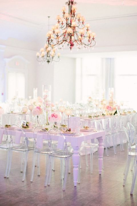 Chic White Wedding with Vintage Chandeliers | KT Merry Photography | See More! https://heyweddinglady.com/secrets-of-event-lighting-theres-no-such-thing-as-too-many-chandeliers/