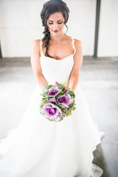 Eclectic Purple Cabbage Bridal Bouquet | Jacquelynn Brynn Photography | See More! https://heyweddinglady.com/classic-modern-wedding-day-style-from-jacquelynn-brynn-photography/