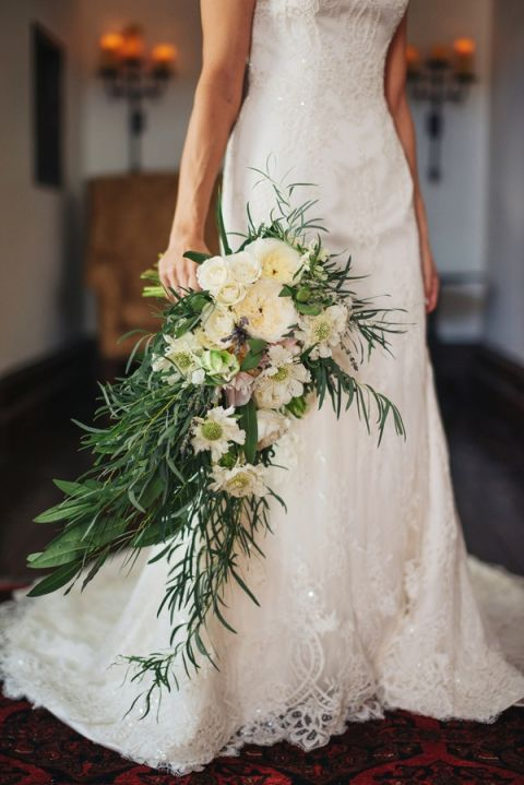 Gorgeous White and Green Cascade Bouquet for an Historic Villa Wedding | Vitaly M Photography | See More! https://heyweddinglady.com/historic-villa-wedding-in-southern-california/