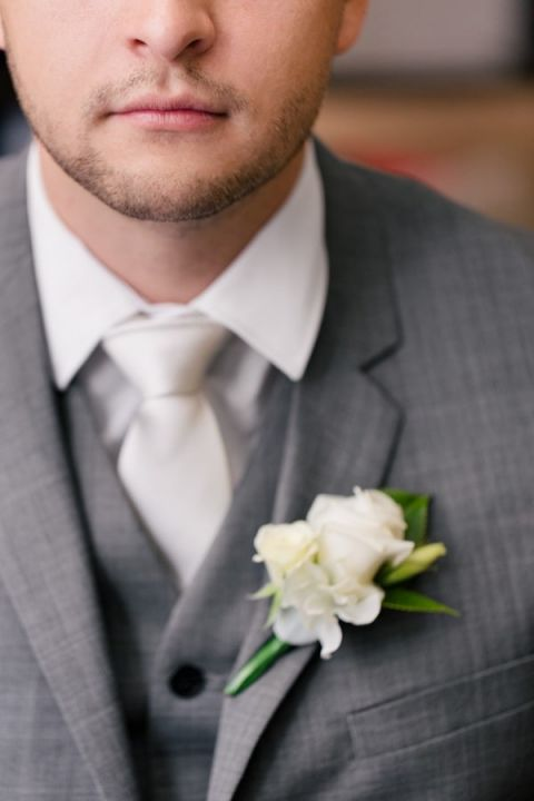 Dapper Groom in A Gray Three Piece Suit with a White Boutonniere | Hilary Cam Photography | See More! http://heyweddinglady.com/midsummer-nights-dream-wedding-in-a-secret-garden/