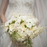 Lush Green and White Bouquet with Roses, Dahlias, Astilbe and Ferns | BRC Photography | See More! https://heyweddinglady.com/impossibly-chic-modern-art-inspired-wedding/