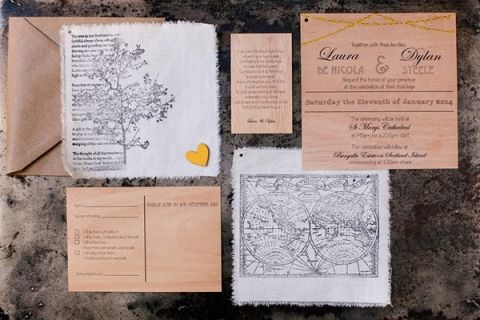 Wood Print and Bistro Lighting Wedding Invitation - designed by the bride! | Hilary Cam Photography | See More! http://heyweddinglady.com/midsummer-nights-dream-wedding-in-a-secret-garden/