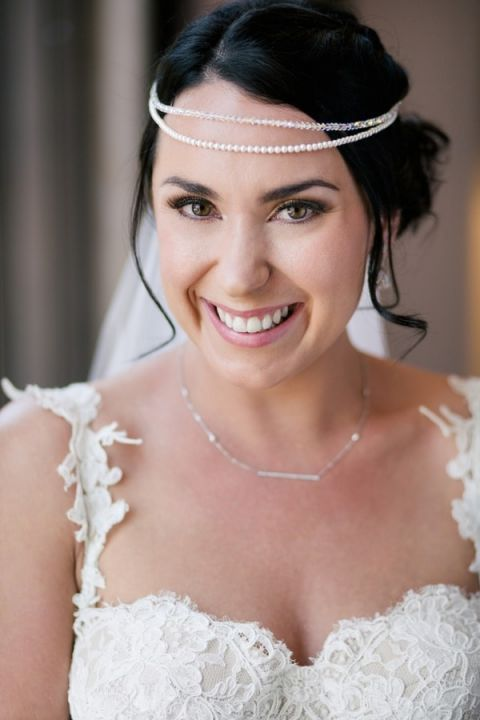 Gorgeous Bride for her Midsummer Night Dream Wedding - in a pearl and headpiece she made herself! | Hilary Cam Photography | See More! http://heyweddinglady.com/midsummer-nights-dream-wedding-in-a-secret-garden/