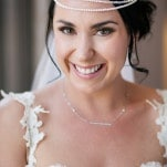 Gorgeous Bride for her Midsummer Night Dream Wedding - in a pearl and headpiece she made herself! | Hilary Cam Photography | See More! https://heyweddinglady.com/midsummer-nights-dream-wedding-in-a-secret-garden/