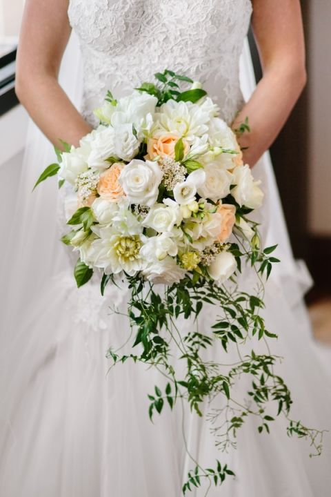 White and Peach Cascade Bouquet for a Romantic Secret Garden Wedding | Hilary Cam Photography | See More! http://heyweddinglady.com/midsummer-nights-dream-wedding-in-a-secret-garden/
