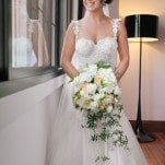 Gorgeous Wedding Dress with Lace Straps for a Romantic Garden Wedding | Hilary Cam Photography | See More! http://heyweddinglady.com/midsummer-nights-dream-wedding-in-a-secret-garden/
