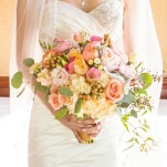 Romantic Tropical Inspired Peach Bridal Bouquet for a Wedding by the Sea | D. Park Photography | See More! https://heyweddinglady.com/coral-peach-and-aqua-wedding-by-the-sea/