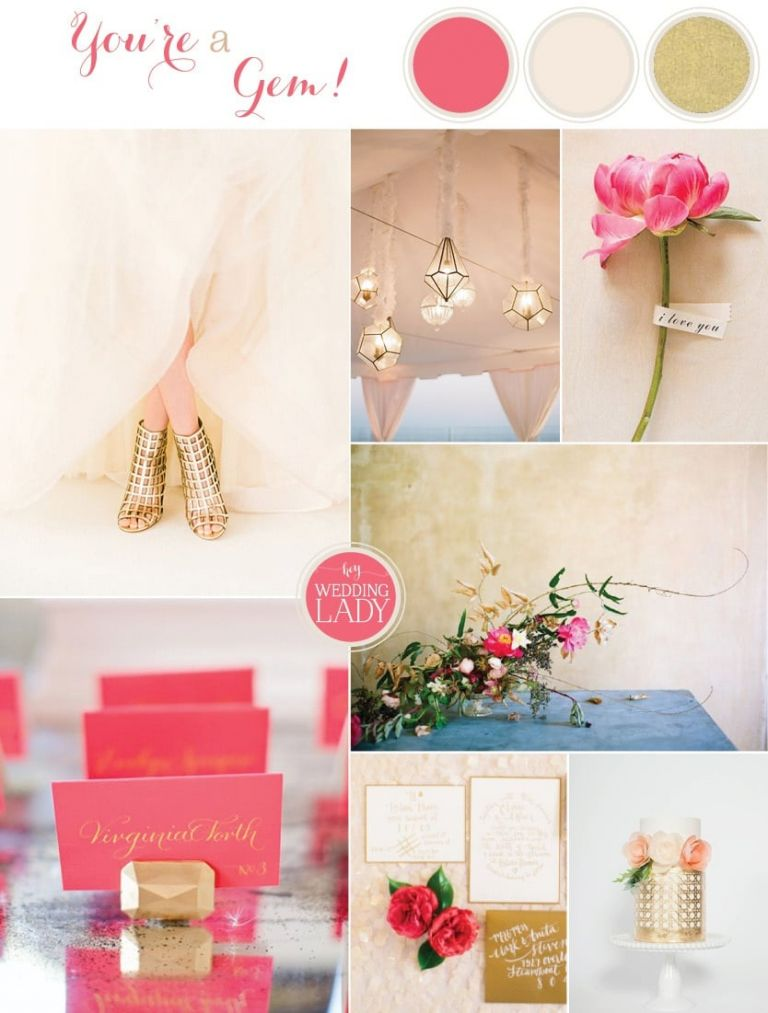 Glamorous Modern Wedding Inspiration Fuchsia, Blush, and Gold with Geometric Details | See More! https://heyweddinglady.com/glamorous-geometric-wedding-inspiration-in-fuchsia-blush-and-gold/