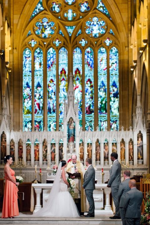 Vows at the Altar in St. Marys Cathedral | Hilary Cam Photography | See More! http://heyweddinglady.com/midsummer-nights-dream-wedding-in-a-secret-garden/