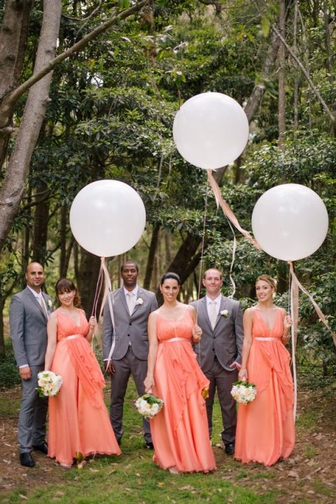 Bridesmaids in Peach Goddess Gowns for a Midsummer Nights Dream Wedding | Hilary Cam Photography | See More! http://heyweddinglady.com/midsummer-nights-dream-wedding-in-a-secret-garden/