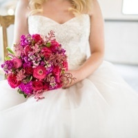 Hot Pink Fuchsia Glam Bridal Bouquet | Jacquelynn Brynn Photography | See More! https://heyweddinglady.com/classic-modern-wedding-day-style-from-jacquelynn-brynn-photography/