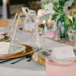 Vintage Pink and Gold Place Settings | PhotoHouse Films | See More! https://heyweddinglady.com/ethereal-texas-garden-wedding-in-gray-pink-and-gold/