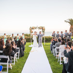 Romantic Wedding Ceremony on the Bay | D. Park Photography | See More! https://heyweddinglady.com/coral-peach-and-aqua-wedding-by-the-sea/