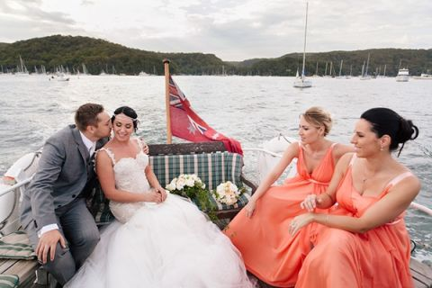 The Bridal Party and guests took boats to reach the wedding reception on a private island | Hilary Cam Photography | See More! http://heyweddinglady.com/midsummer-nights-dream-wedding-in-a-secret-garden/