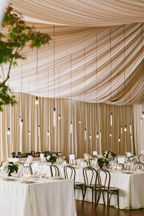 Ideal Chic Neutral Wedding with Elegant Draping and Hanging Edison Bulbs The Why We Love Photography