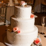 Classic Peach and Ivory Wedding Cake | D. Park Photography | See More! https://heyweddinglady.com/coral-peach-and-aqua-wedding-by-the-sea/