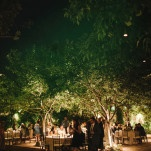 Gorgeous Courtyard Wedding Reception at Villa San Juan Capistrano lit by Lanterns in the Trees | Vitaly M Photography | See More! https://heyweddinglady.com/historic-villa-wedding-in-southern-california/