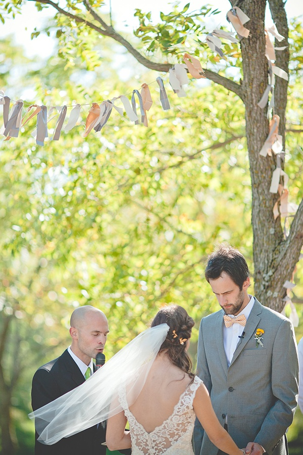 Romantic Country Ceremony With Tissue Paper Tassels And A Lace