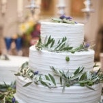 Buttercream Wedding Cake with Olive Branches | BRC Photography | See More! https://heyweddinglady.com/impossibly-chic-modern-art-inspired-wedding/