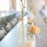 Simple Woodsy Wedding Centerpieces in Gray and Creamy Orange | Dust Studios | See More! https://heyweddinglady.com/handmade-and-homespun-country-wedding-from-dust-studios/