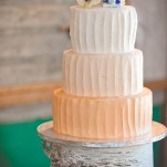 Orange Ombre Wedding Cake on a Birch Stand | Dust Studios | See More! https://heyweddinglady.com/handmade-and-homespun-country-wedding-from-dust-studios/