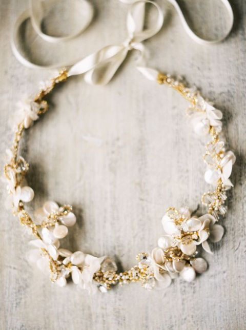 Emici Bridal Silk Flower and Crystal Wedding Headpiece | Anna Peters Photography | See More! https://heyweddinglady.com/ivory-embroidery-vintage-lace-wedding-inspiration/