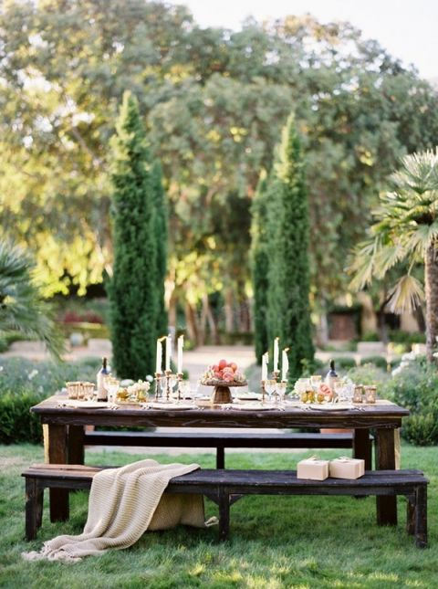 Luxurious Natural Outdoor Wedding Reception | Jose Villa Photography | See More! https://heyweddinglady.com/farm-table-luxe-organic-wedding-inspiration/