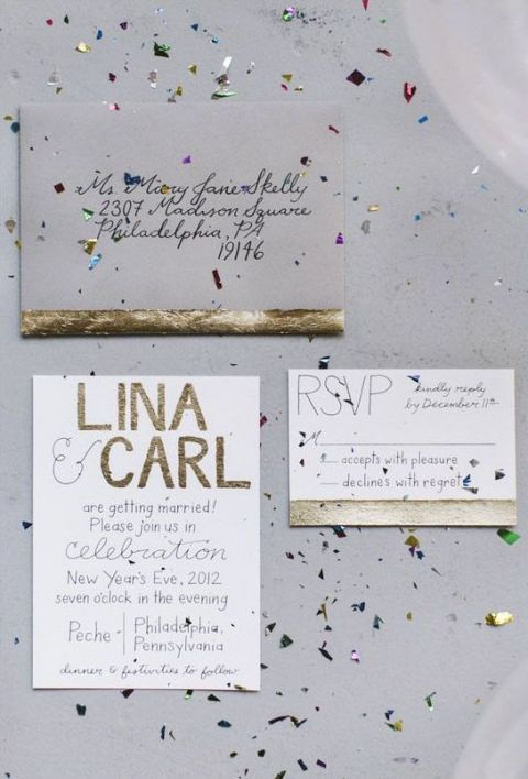 Gold Foil Wedding Invitations with Metallic Confetti | Love Me Do Photography | See More! https://heyweddinglady.com/chic-metallic-wedding-with-silver-and-gold-leaf-accents/