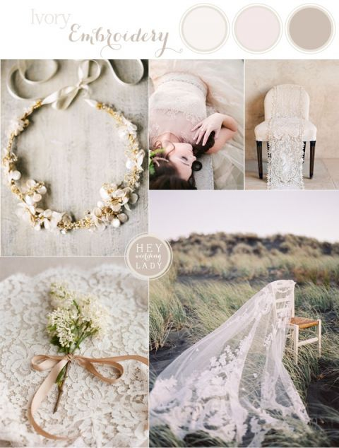 Ivory Embroidery - Romantic Vintage Lace Wedding Inspiration in Cream | See More! https://heyweddinglady.com/ivory-embroidery-vintage-lace-wedding-inspiration/