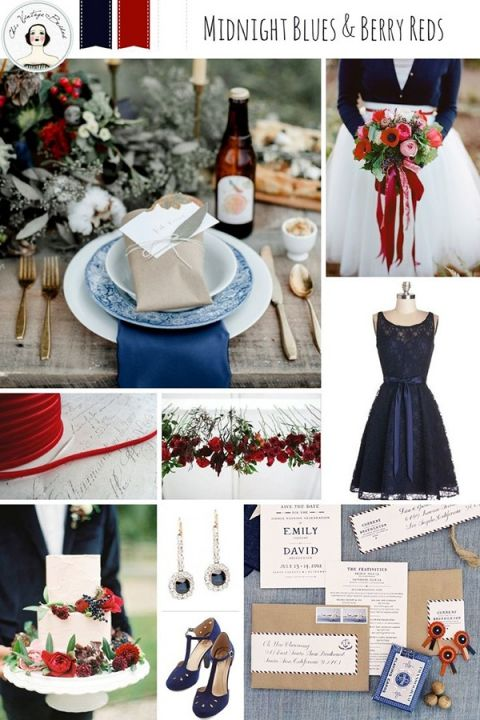 Midnight Blue and Berry Wedding | Chic Vintage Brides http://chicvintagebrides.com/index.php/inspiration-board/romantic-red-white-blue-wedding-inspiration/
