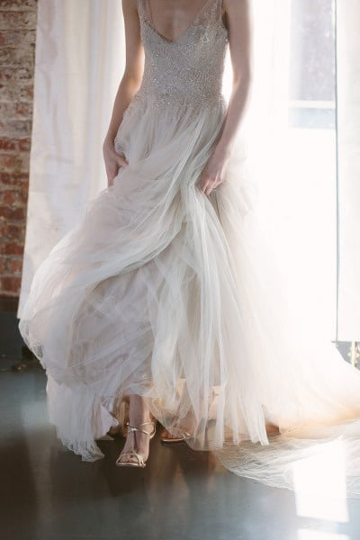 Silver Paolo Sebastian Wedding Dress With Gold Shoes Allan Zepeda Photography See More