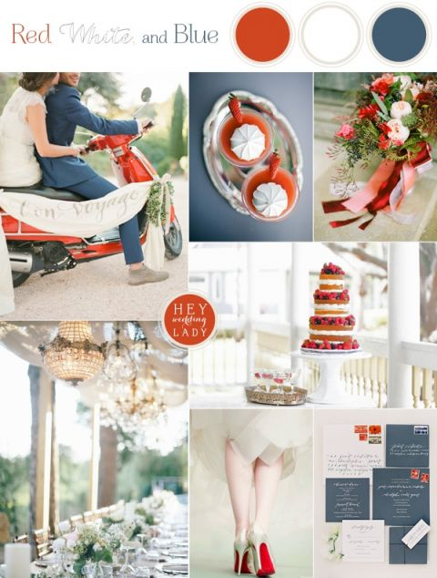 Patriotic Red, White, and Blue Fourth of July Wedding Inspiration with a French Country Twist! | See More! https://heyweddinglady.com/patriotic-red-white-blue-french-country-twist/
