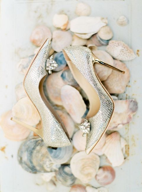 Silver Jimmy Shoe Heels #weddingshoes | Branco Prata Photography | See More! https://heyweddinglady.com/modern-garden-deconstructed-industrial-loft-wedding/ Gown