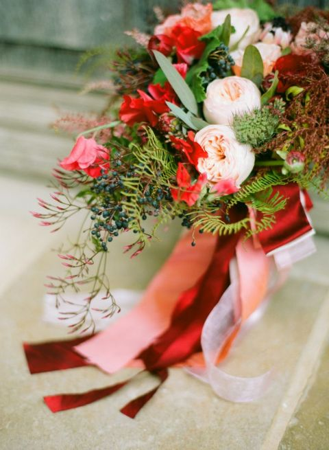 Vibrant Red Bridal Bouquet | Diana Marie Photography | See More! https://heyweddinglady.com/patriotic-red-white-blue-french-country-twist/