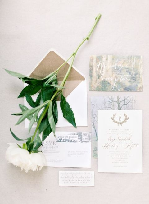 Romantic Watercolor Wedding Invitation | Brumley and Wells | See More! https://heyweddinglady.com/modern-garden-deconstructed-industrial-loft-wedding/ Gown