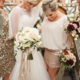 Glam Gold Adrianna Papell Bridesmaids Dresses | Megan Robinson Photography | See More! http://heyweddinglady.com/the-ultimate-guide-to-sparkling-metallic-dresses-for-your-wedding/