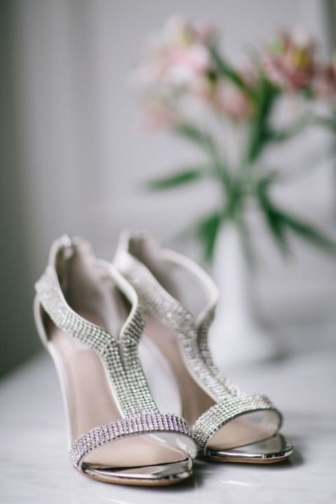 Classic Glam Wedding Shoes with a Modern Edge and Lots of Sparkle | Blaine Siesser Photography | See More! https://heyweddinglady.com/classic-glam-wedding-in-crystal-white-and-blush/