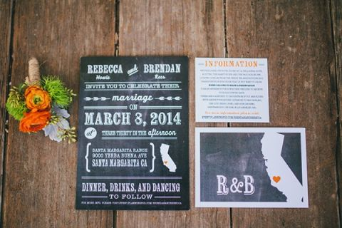 Rustic Chalkboard Inspired Wedding Invitations | Lisa Mallory Photography | See More! https://heyweddinglady.com/autumn-harvest-wedding-at-santa-margarita-ranch/