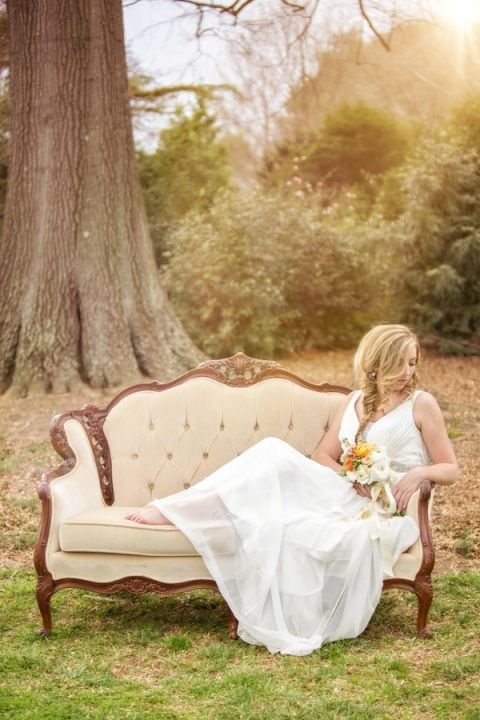 French Country Chic Bridal Style on an Elegant Vintage Settee | Amy Allen Photography | See More! http://heyweddinglady.com/french-country-chic-wedding-style/