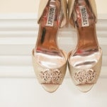 Antique Gold Jeweled Wedding Shoes | Onelove Photography | See More! http://heyweddinglady.com/pink-mint-and-gold-wedding-with-lots-of-sparkle/