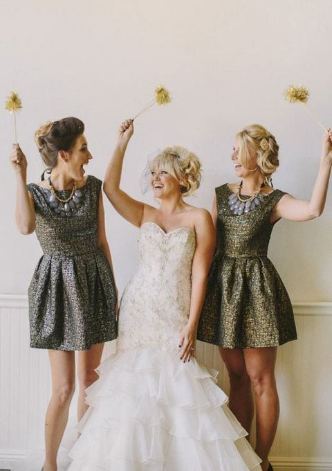 Silver and Gold Matte Metallic Bridesmaids Dresses