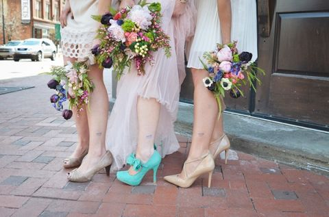 Hand Tied Bouquets in Jewel Tones and Bright Turquoise Wedding Shoes! | Nicole Marie Photography | See More! http://heyweddinglady.com/boho-brewery-wedding-inspiration-in-rich-jewel-tones/